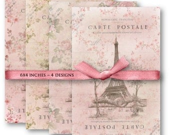 Digital Images - Digital Collage Sheet Download - Pink Paris Carte Postale Papers -  1068  - Digital Paper - Instant Download Printables