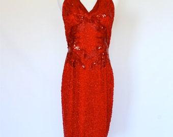 80's Red Sequined Dress, Vintage Beaded Dress, Evening Dress, Red Dress, Formal Dress, Valentine's Day Dress