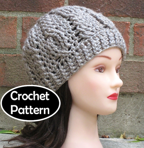 CROCHET HAT PATTERN Instant Download - Briony Cabled Beanie Hat Womens Fall Winter - Permission to Sell