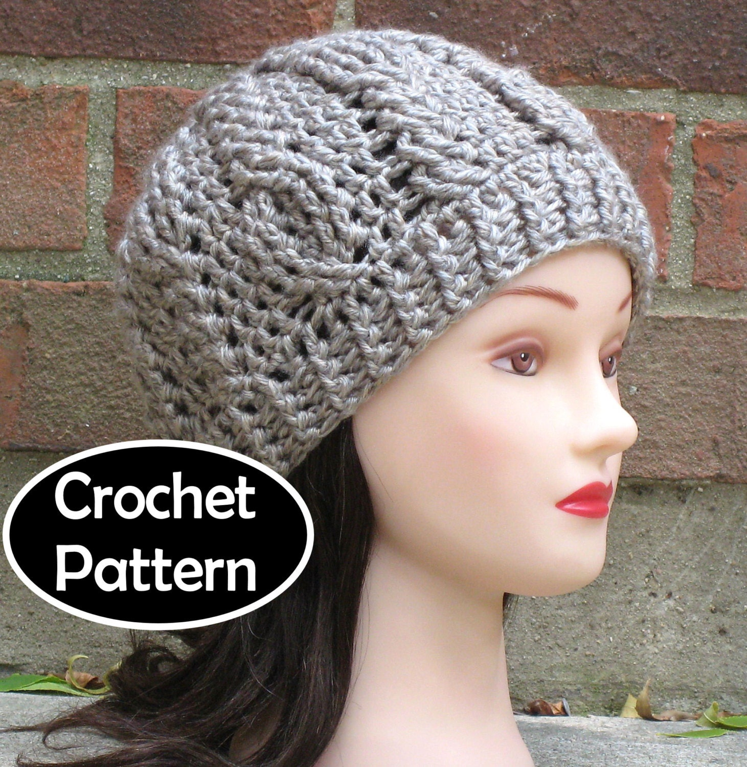 Crochet Hat Pattern Download : CROCHET HAT PATTERN Instant Download Briony Cabled Beanie