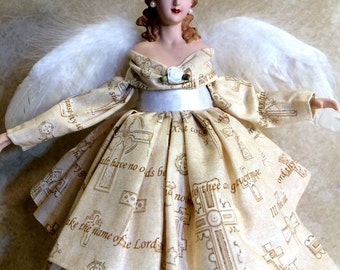 Angel Tree Topper, OOAK Brunette Angel, The 10 COMMANDMENTS Printed on GOWN, Inspirational Christmas Angel Treetop