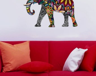 Floral Elephant multicolor - Full Color Wall Decal Vinyl Decor Art Sticker Removable Mural Modern B199