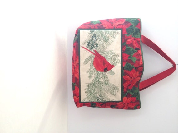 Quilted holiday cardinal and poinsettia tote bag