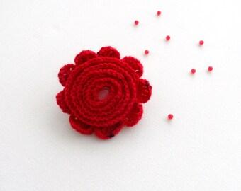 Crochet Brooch - Crochet Red Flower - Cashmere Flower - Rosette - Corsage Brooch