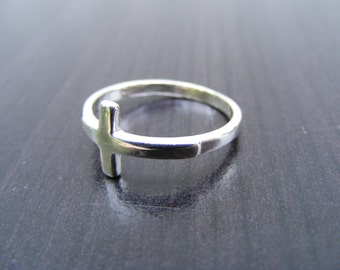 15% Off Sale.S141 Made to Order...New Sterling Silver Simple Cross Ring