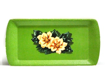 Vintage Cottage Chic Buffet TV Trays Mid Century / Floral / Kentley Corporation / Set of 4 Lithographed Paperboard / 1950s