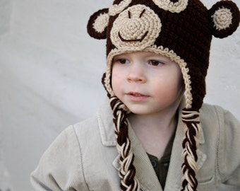 Crochet Monkey Hat for toddler or baby, Crochet Hat, Made to Order