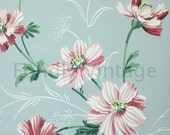 Build Your Own Custom Sample Vintage Wallpaper Packet - Single Scrap Sheet, 8 1/2 in. x 10 1/2 in. Page - Blue and Pink Floral, Big Flowers