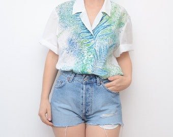 Vintage white shirt with green tropical leaves / women short sleeves