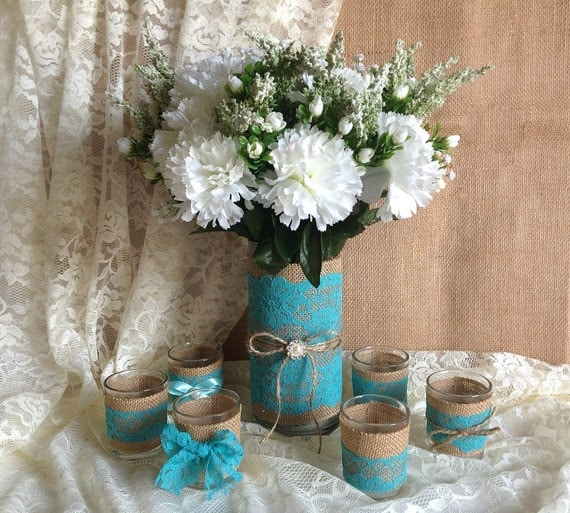 Items Similar To Deep Turquoise Blue Lace And Natural