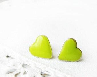 Green tiny Stud Lime Heart earrings Heart jewelry Hypoallergenic posts