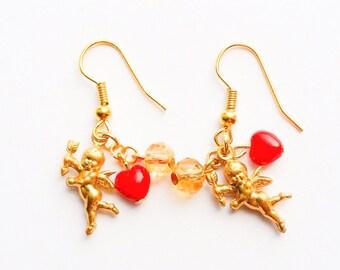 Valentine's Day heart angel earrings-vintage earrings-heart earrings-love-sweet-gift for her-heart earrings-gold earrings-love factory ny