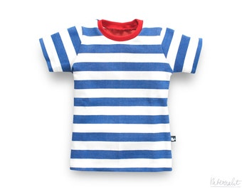 toddler boy t-shirt, blue white striped, made of 100% organic cotton
