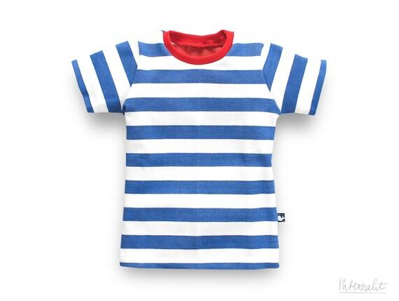 toddler boy t-shirt blue white striped made of 100% organic