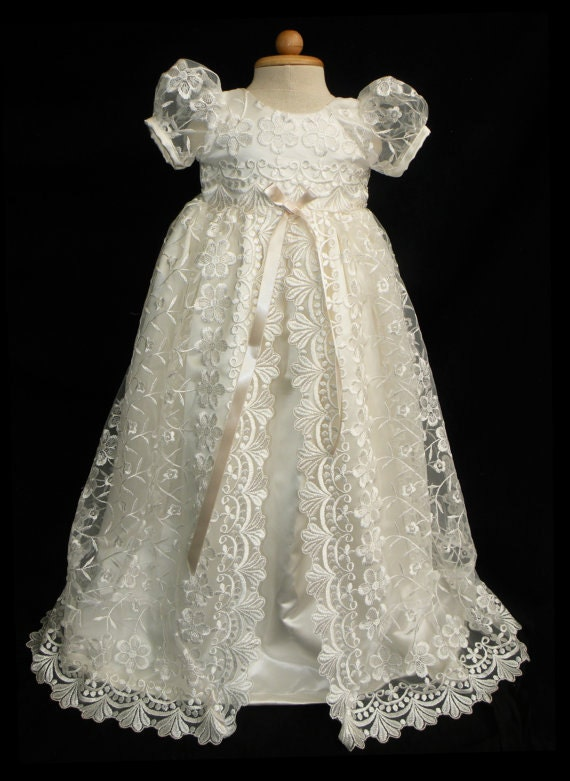 Sale Stunning Off White Lace Christening Gown Baptism