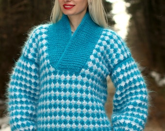 Designer sweater shawl collar fuzzy hand knit mohair sweater in white / aqua blue by SuperTanya