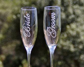 Bride, Groom, Wedding Toasting Flutes, Champagne Flutes, Mr Mrs Personalized
