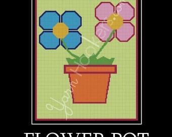 Flower Pot - Afghan Crochet Graph Pattern Chart - Instant Download