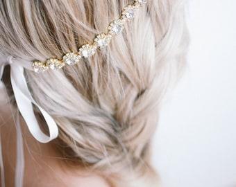 Delicate Gold Flower Crystal Bridal Halo, Bridal Rhinestone Halo Head Piece