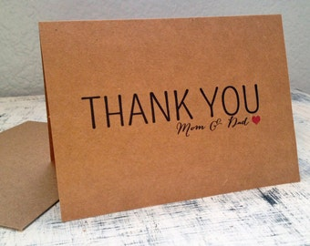 Parents thank you card - personalized thank you card with wedding date