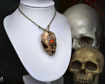 Animal-friendly Canine dog puppy skull necklace pendant with Swarovski crystal Mortiis.M