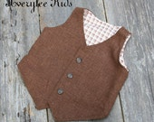Boys Brown Linen Vest, Toddler to Teen Vest, Wedding Ring Bearer, Brown Vest for Boy's