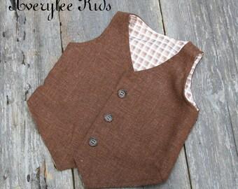 Our Avery Boys Brown Linen Vest, White Linen Vest, Boys Black Linen Vest, Toddler Vest, Wedding Ring Bearer, Brown Vest for Boy's