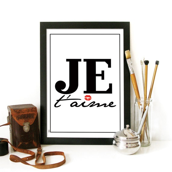 LOVE Poster Je t'aime typography print love art poster french style simple design typography inspirational love print poster motivational