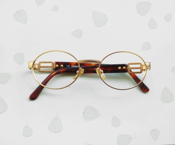 fendi fendissime frames eyeglasses vintage 90s gold filled sunglasses oval shaped designer glasses