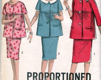 "Vintage 1963 Advance 3005 Two Piece Maternity Dress Sewing Pattern Size 16 Bust 36"" UNCUT"