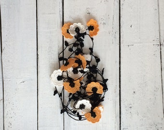 Crochet Necklace, Oya Beaded Necklace, Orange Lariat, Flowers Necklace, Turkish Oya Necklace, Boho Wrap Lariat, Women's Christmas Gift