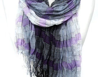 Purple Scarf. Plaid Scarf. Winter Cotton Scarf. Unisex Scarf. Warm Crinkle Scarf. Fringed Purple Scarf. 25x70in (65x180cm) Ready2Ship