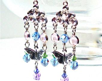 Silver Chandelier Earrings, Crystal Chandelier Earrings, Beaded Chandelier Earrings, Butterfly Earrings, Summer Jewelry, Butterfly Jewelry
