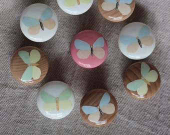 white, blue and pink butterfly drawer and cabinet knob. Ideal for nurseries and upscaling furniture.