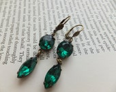 Romantique Old World Emerald Rhinestone Earrings, 1920-1930 Rich Sparkly Crystals, Antiqued Brass French Shell Earrings