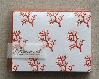 Branch Coral Letterpress Card Set