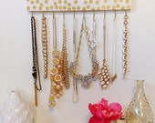 Jewelry Hanger Gold Polka Dot White  / Necklace Accessory Organizer with Hooks / Confetti Print