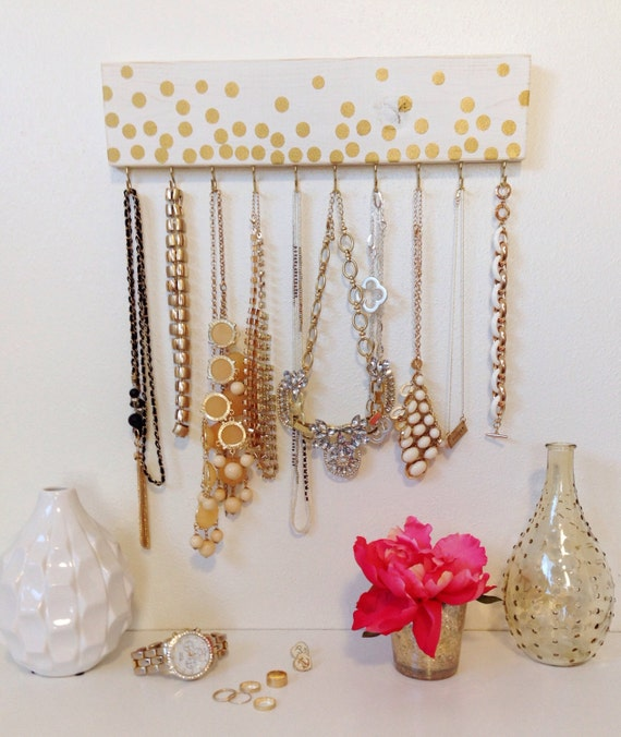 Jewelry hanger gold polka dot white necklace accessory