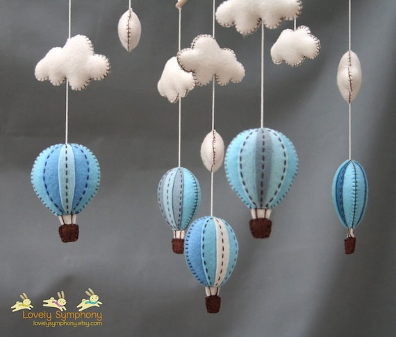 Blue and grey hot air balloons baby mobile - smoky blue - winter sky baby mobile - winter - baby mobile