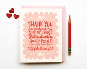 Ridiculously Happy Valentines Day Card pink red white love calligraphy hand lettering - littlelow
