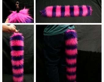 Cheshire Cat Furry Tail Pink and Purple Striped Alice in Wonderland Cosplay EDC Burning Man EDM Festival Wear