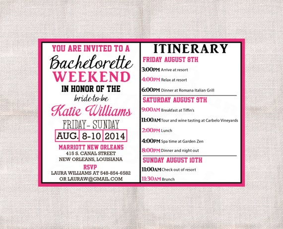 Bachelorette party weekend invitation and itinerary custom for Bridal shower itinerary template