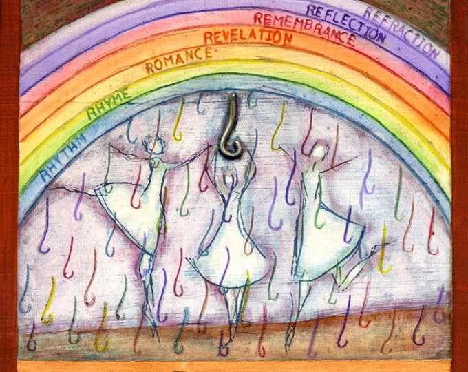 """R is for RAIN, original mixed media painting, part of my """"VISIONS: A-Z"""" project"""