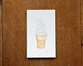 Soft Serve Vanilla Ice Cream // Watercolor & Ink // Original Painting