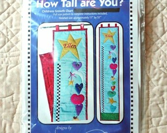 Growth Chart, Wall Quilt Pattern, DeElda, QU126, How Tall Are You, Children, 2004 Uncut