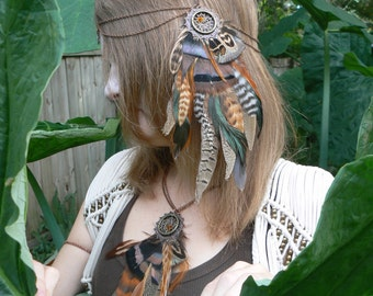 head chain dreamcatcher feather head chain headdress head piece in tribal  inspired  boho gypsy hippie  hipster style