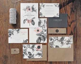 Painterly Floral Wedding Invitation & Correspondence Set / Vintage Florals and Modern Accents / Sample Set
