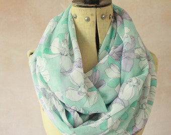 Chiffon - Large Infinity scarf, Eternity scarf, Circle scarf, Chiffon scarf, Tube scarf, Snood - Crinch Chiffon