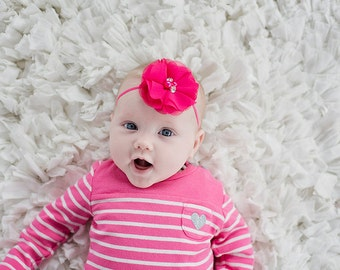 Hot Pink Baby Headband Newborn Photo Prop Pink Flower Headband Hot Pink Chiffon Headband