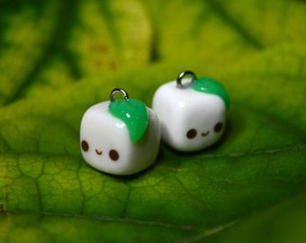 Tofu with Leaf Charm - Kawaii Miniature Food Polymer Clay